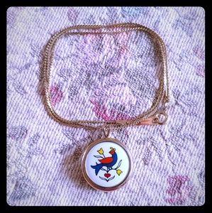 Avon danish porcelain folk art bird necklace
